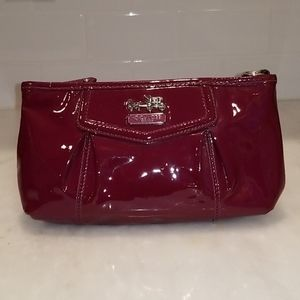 Coach Madison Crimson Red Patent Pleated Pouch